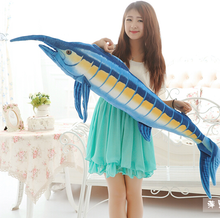 Realistic Giant Stuffed Marine Animals Toys Soft Plush Blue Marlin Tuna 100CM or 140cm 1PC(China)