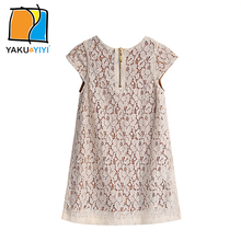 YAKUYIYI Brand New Summer Vintage Solid Ivory White Cut Out Lace Princess Girls Dress Crew Neck Sleeveless Kids Clothing(China)