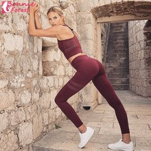 Bonnie Forest Women Fitness Running Sport Clothing Training Suit quick dry Leggings Two Piece Yoga Set Outdoor Lady Workout New(China)