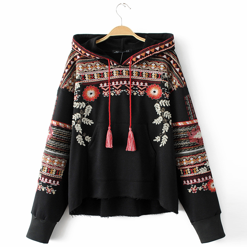 ShejoinSheenjoy Hooded Long Sleeve Loose Hoodies Women Fashion Black Vintage Floral Geometric Embroidery Sweatshirt Pullovers (10)