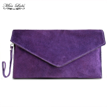 MISS LULU Women Clutch Purse Wallet Designer Celebrity Real Italian Suede Leather Envelope Party Evening Purple Hand Bag YD1405