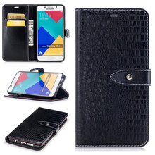 Crocodile Grain PU Leather Cases for Samsung Galaxy A5(2016) A5100 Flip Mobile Phone Cases with Card Pocket & Kickstand & Buckle(China)