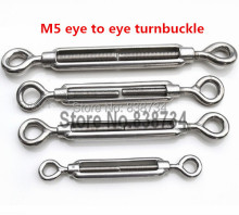 10pcs 304 stainless steel m5 turnbuckle strainer fence wire tensioner eye to eye(China)