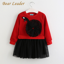 Bear Leader Girls Lace Dress Spring 2017 New Autumn Kids Dresses Long Sleeved Cartoon Swan Lace Appliques Princess Dress 3-7Y(China)