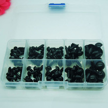Plastic eyes 6/7/8/10/12mm Black Safety Eyes / Plastic Doll eyes  For Bear Doll Animal Puppet Making - 100 pcs/lot with box