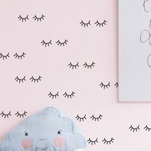 Cute eyelash pattern Wall decal removable Vinyl Wall Stickers For Kids Room Lovely Sleepy Eyes Baby Nursery Wall Art Home Decor(China)
