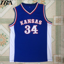 2017 Mens New Paul Pierce Jersey Cheap Throwback Basketball Jersey #34 Kansas Jayhawks KU College Retro Blue Shirts For Men(China)