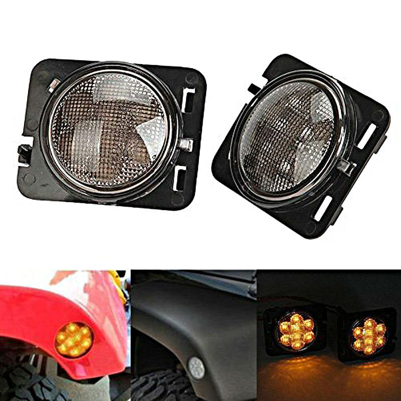 1Pair LED Side Maker Lights for Jeeep Wrangler Amber Front Fender Flares Parking Turn Lamp Bulb Indicator Lens<br>