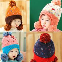 Excellent Quality Cute Baby Toddler Girls Boys Santa Claus Fur Ball Knitted Winter Warm Hat Cap Knit Unisex gorro Vicky(China)