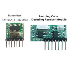 433 Mhz Wireless Receiver and Transmitter Remote Control Learning Code 1527 Decoding Module 4 Ch output With Learning Button