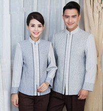 gray hotel waiter uniform hotel reception uniform hotel staff uniform hotel cleaner uniforms bar waiter clothes(China)