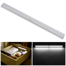 Bright 20LED IR Infrared Motion Sensor Night Light USB Rechargeable Long Aluminum Cabinet Night Lamp Closet Wardrobe Lighting(China)