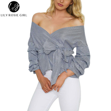 Ruffled Off Shoulder Black Striped Blouse Shirt Autumn Sexy Ruched Sleeve Cool Tops Women Waist Tie Cotton Top Tees Blusas