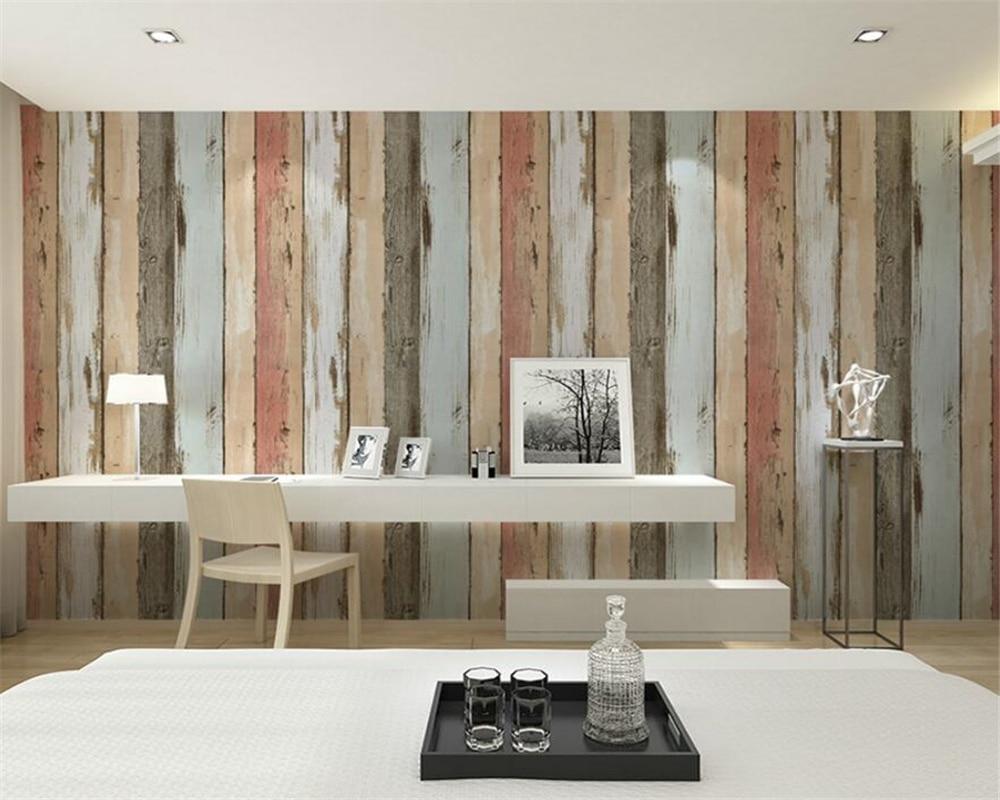 Beibehang wallpaper Retro Nostalgic Imitation Wooden Striped 3d Wallpaper Bar Cafe Garment Shop  House wallpaper for walls 3 d<br>