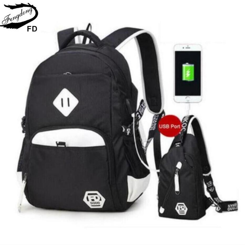 FengDong 2pcs black and white USB Port backpack for teenagers men travel bags one shoulder male sling chest bag set school bags<br>