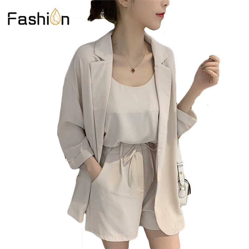 Women's Grey and Beige Blazers with Self Tie Waist Shorts and Tank Three Piece Sets Elegant 3 Piece Women Set Tracksuit Outfits