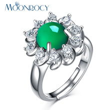 MOONROCY Free Shipping Cubic Zirconia Silver Color Green Ross Quartz Crystal Opal Ring Jewelry Wholesale for Women Girls