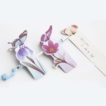 Cute Kawaii Cartoon 3D Paper Butterfly Souvenir Bookmark Vintage Bookzzi Bookmarks for Book Korean Stationery Free shipping 805(China)