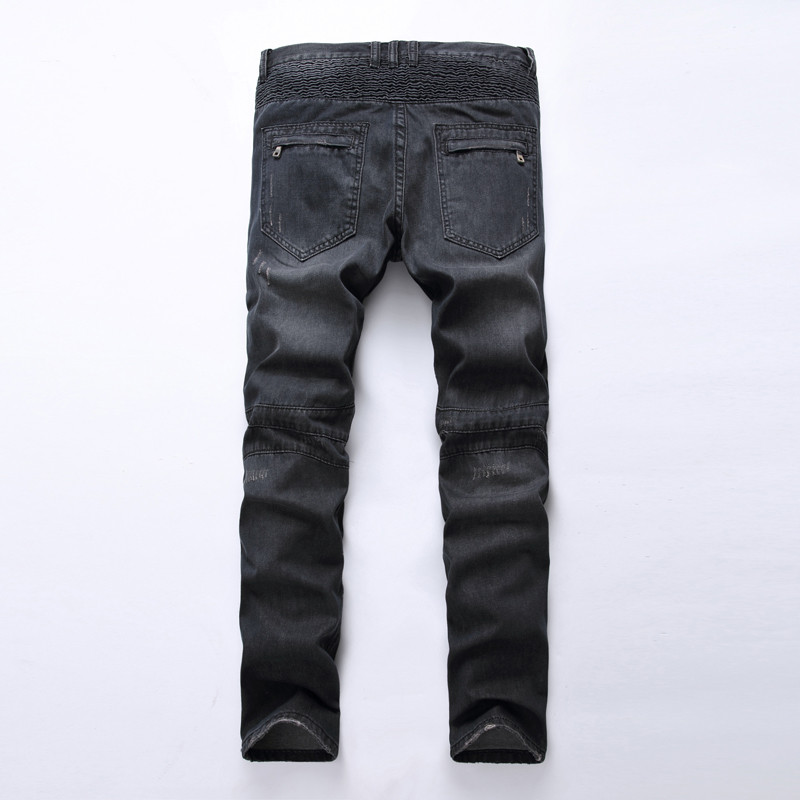Men's Fashion Brand Designer Ripped Biker Jeans Men Distressed Moto Denim Joggers Washed Pleated Jean Pants Black Blue 19
