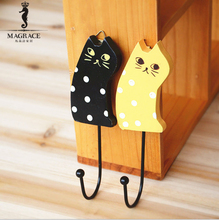 Multifuctional Cartoon Wood Cute Cat Fridge Magnets for Home Kitchen Card Message Tips Magnetic Aimant Frigo Animals Coat Hook