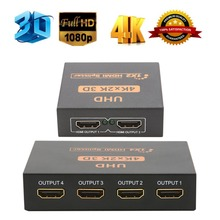 UHD 3D 4K*2K Full HD 1080p HDMI 1.4b Splitter 1X4/1X2 4/2 Port Hub Repeater Amplifier with 5V DC Power Supply For DTV/HDTV VGA