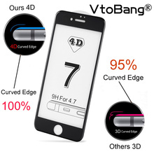 VTOBANG 4D Glass for iPhone 7 Plus Tempered Glass Screen Protector New 3D Curved Full Coverage On iPhone 6 6s Plus 9H Case Film