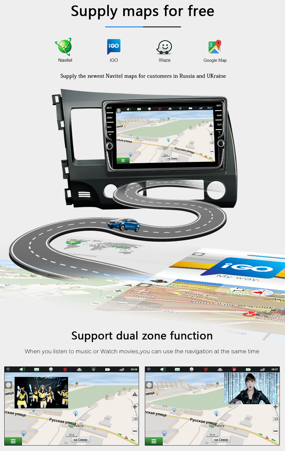 TEYES android 7.1 car dvd gps player For multimedia Honda Civic car dvd navigation raido video audio player no car 2 din