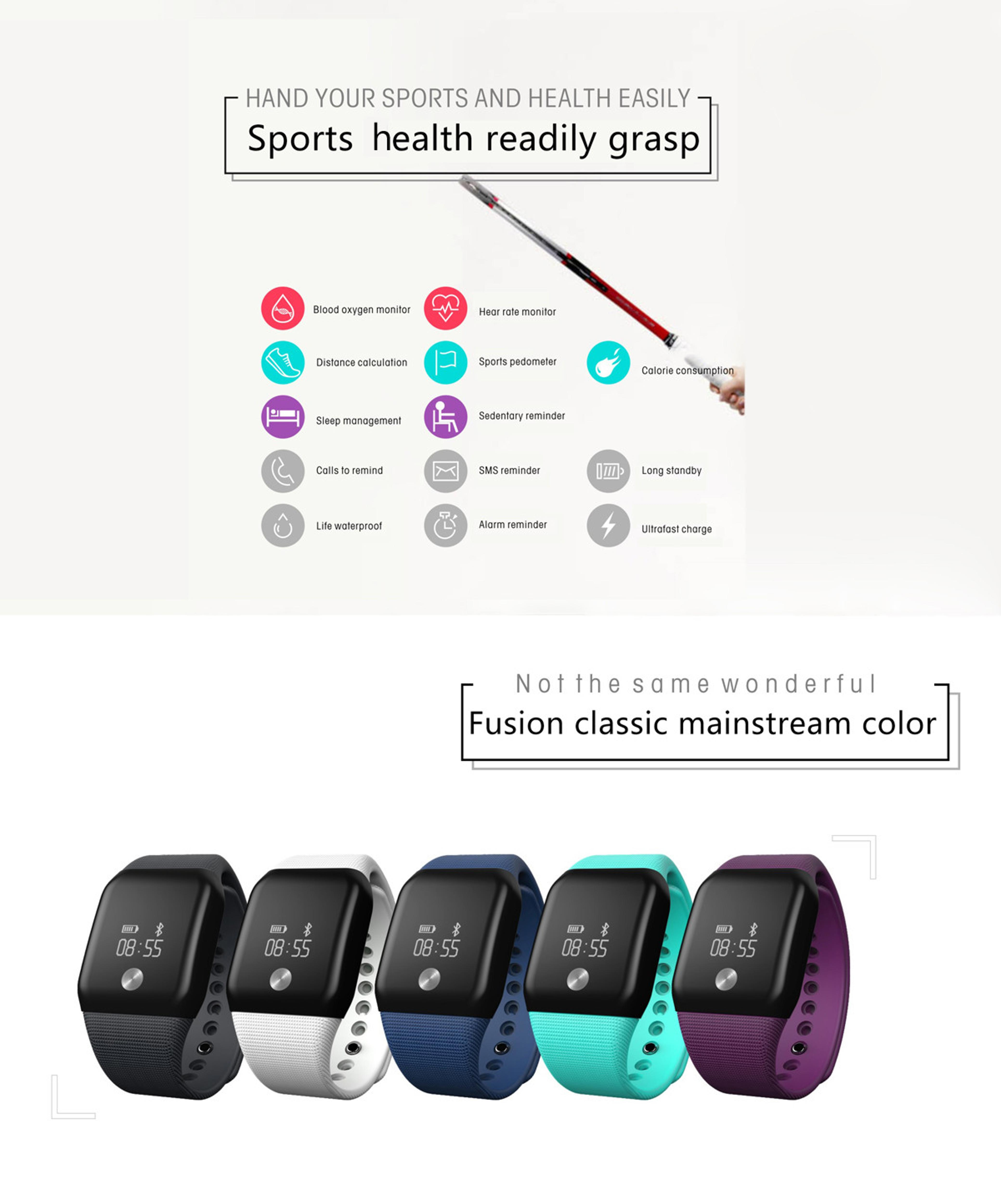 A100 Smart Bracelet Sport Pedometer SmartBand Heart Rate Fitness Watch Blood Oxygen Pressure Monitor Wristband For iOS Android 2