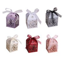 50pcs/Lot Love Heart Laser Cut Gift Candy Boxes Wedding Party Favor With Ribbon Home decor Weeding Supplies Sweet Box Bag New