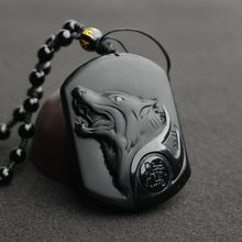 Drop Shipping Black Obsidian Wolf Necklace Carving Wolf Head Amulet Pendant With Chain Obsidian Blessing Lucky Pendants Jewelry(China)