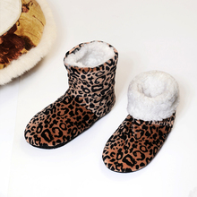 FRALOSHA women's leopard indoor shoes home indoor shoes non-slip soft home floor shoes women winter indoor soft plush boots(China)