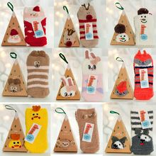Adults Kids Gift Set Box Santa Coral Fleece Slipper Socks Winter Xmas Christmas(China)