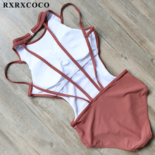 Buy RXRXCOCO One Pieces Swimsuit 2017 Sexy Swimwear Women Halter Bandage Bathing Suit High Neck Swimming Wear Padded Monokini