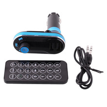 High Quality Bluetooth Car LCD MP3 Player FM Transmitter SD Dual USB Charger hands-free telephone Blue+Black