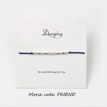 Duoying Brand Morse Code Bracelet Custom LOVE HOPE FRIEND Gold/Silver Color Personalized Hidden Message Bracelet Supply for Etsy(China)