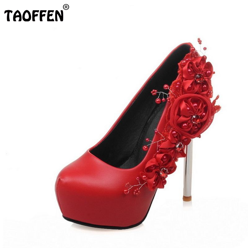 women platform round toe pumps sexy thin heel shoes flower wedding shoes brand quality heeled heels footwear size 33-42 PA00002<br>