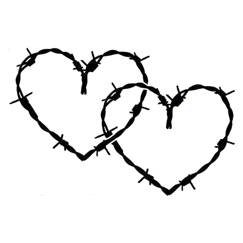 20.3cm*13.5 Barb Barbed Wire Hearts Vinyl Car-Styling Stickers Decals Black/Silver S3-4963(China)