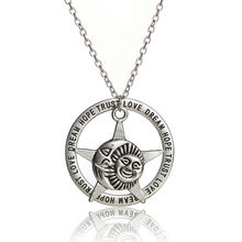 Trendy Vintage Silver Star Sunshine Smile Charm Love Dream Hope Trust Words Circle Charming Pendant Necklace Jewelry Friend Gift