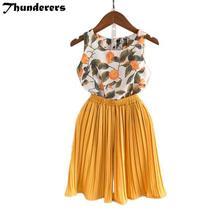 PKR 891.27  50%OFF   Girls 2 Pcs Set Floral Chiffon Shirt + Pants Summer Clothing Set Baby Girl Outfit Children Clothes Kids Fashion Clothes