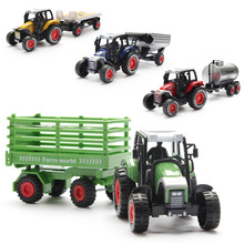 Alloy Farmer Tractor Oil Tank Simulation Trailer Warrior Auto Salon Girls Children Foreign Trade Toys Vehicle Gift