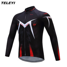 Hot TELEYI Black red Bike Long jersey Men Cycling clothing Spring Autumn Male MTB Ropa Ciclismo Wear Maillot Long Sleeve Shirts