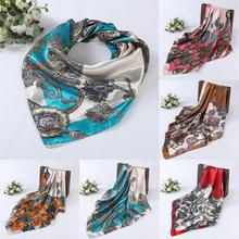 CHAMSGEND 2017,Women Lady Printed Square Scarf Head Wrap Kerchief Neck Satin Shawl May04