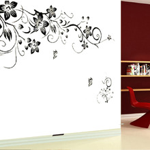 "free shipping new 31.4"" x 51.1""Flower rattan Butterfly DIY Removable Art Vinyl Quote Wall Sticker  Home decoration Christmas"