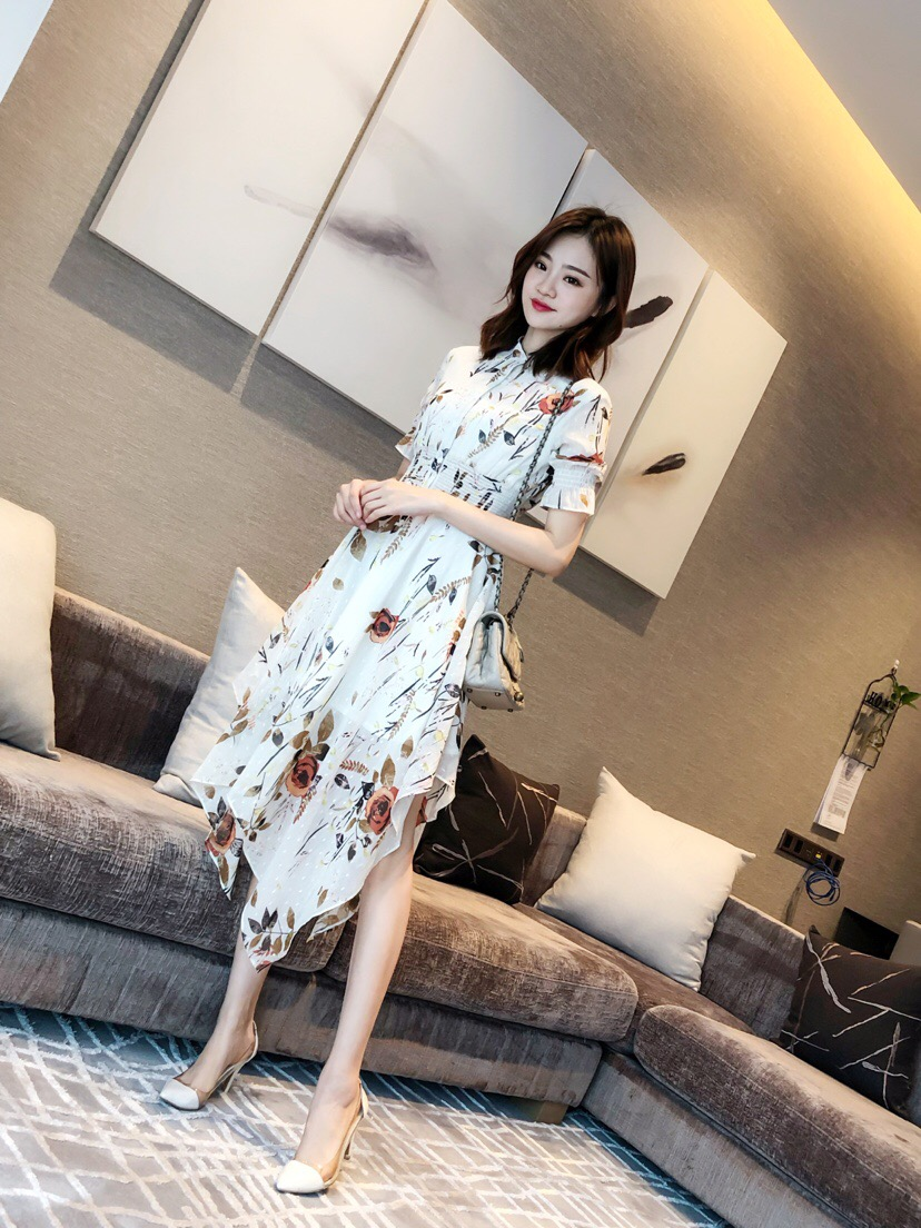 2019 New Print Lapels Irregular Waists Luxury Dresses For Women Freeshipping