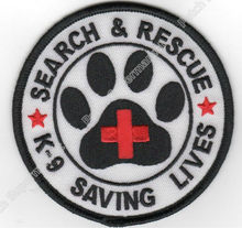 "3.5"" Search & Rescue K-9 Saving Lives Working Dog Service Dog K9 Iron On Patch Tshirt TRANSFER APPLIQUE Rock Punk Badge"