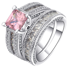UFOORO Newest Cubic Zirconia Love Round Design Ring Set Silver Color Large Multi-Layer Women Wedding Ring For Bridal Unique Gift(China)