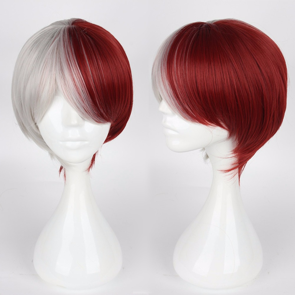 Boku No Hero Academia Todoroki Shouto Cosplay Wigs 30cm 11.81 Short Straight Heat Resistant Synthetic Hair Red and White <br><br>Aliexpress