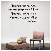 The more the you read Quotes Words Letter Wall Sticker Home Decoration Art Wallpaper Home Decor Diy Removable