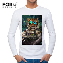 FORUDESIGNS 3D Cool Military Tiger Pattern Long Sleeve T-shirt for Men O-neck Hipster Top Tees Man Clothes Spring Casual T Shirt