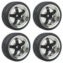 5 star Plating Wheel Rim & Soft Tires Tyre Black  for RC 1:10 On Road Car Pack of 4
